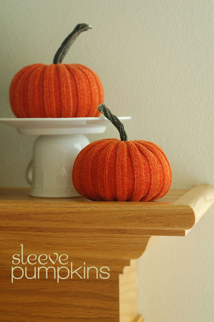 This simple fall craft uses a thrift store sweater to create plump little pumpkins.
