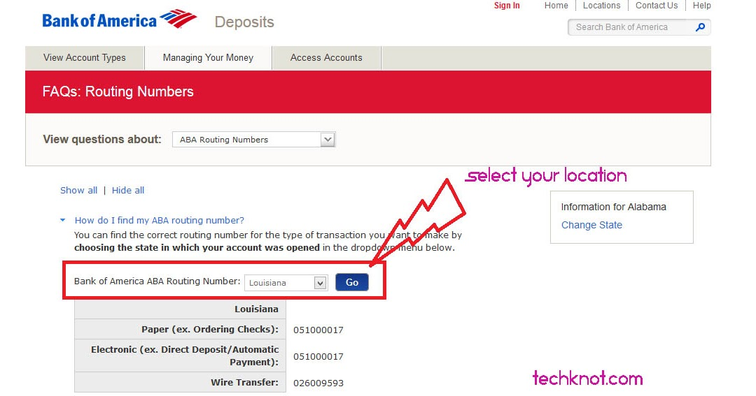 where to find account number bank of america