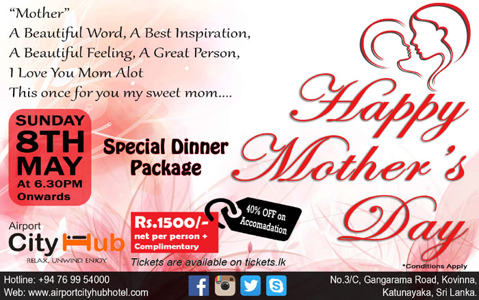 Happy Mother's Day Special Dinner Package at Airport City Hub.