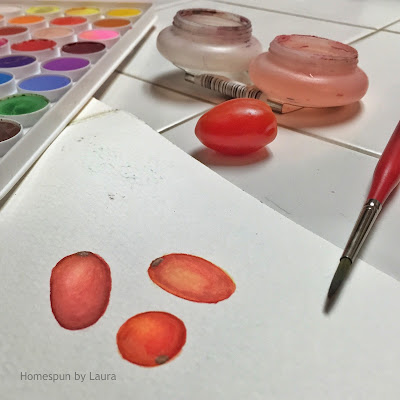 homespun by laura daily doodle cherry tomato watercolor