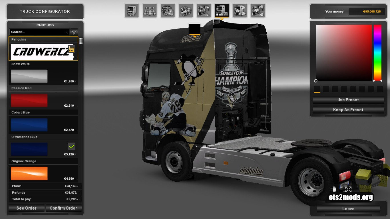 Pittsburgh Penguins Skin DAF Euro 6