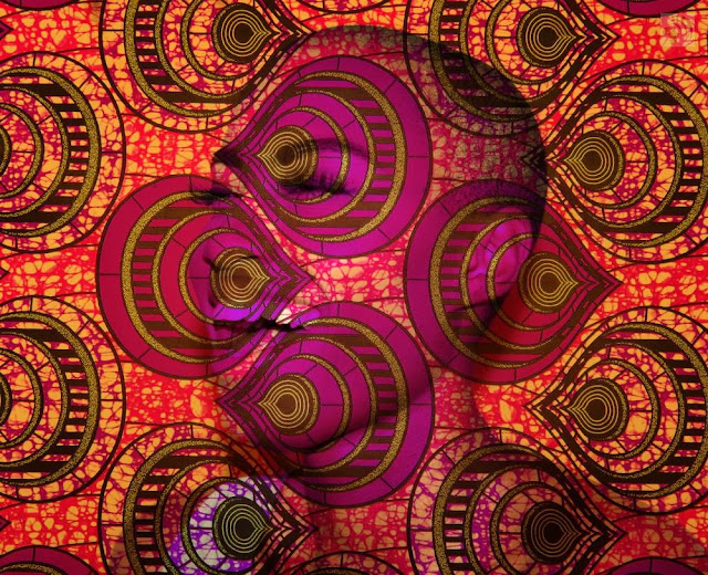 African fabric print laughing