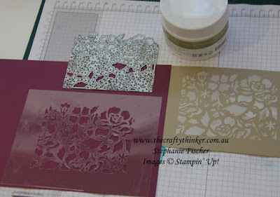 Detailed Floral Thinlits, Embossing Paste, Stencilling, #thecraftythinker, Stampin' Up Australia Demonstrator, Stephanie Fischer, Sydney NSW, Making a stencil