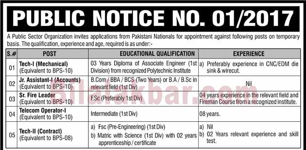 Public Sector Organization Jobs Last Date 04 March 2017