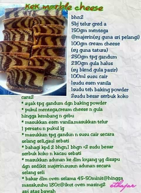 resepi kek marble cheese