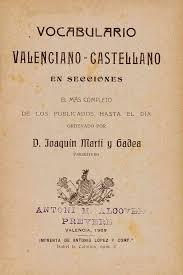 Vocabulario valenciano castellano, Martí Gadea, en secciones