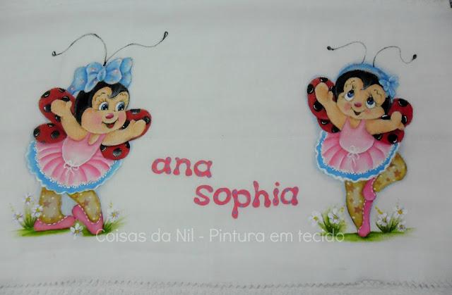 fralda de ombro pintada com joaninhas bailarinas
