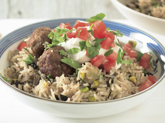 Turkish lamb pilaf in a serving dish