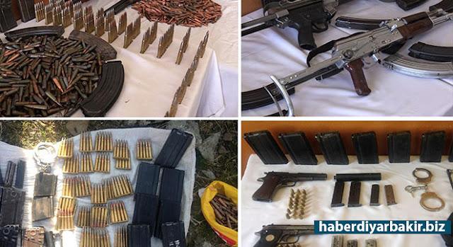 DİYARBAKIR-Diyarbakır'ın Çınar ilçesine bağlı Özyar ve Harabe köylerinde ikamet eden 2 kişinin evinde, jandarma tarafından yapılan aramada çok sayıda silah ve mühimmat ele geçirildiği bildirildi.