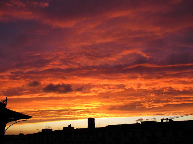 Fire-in-the-sky sunset over Livorno