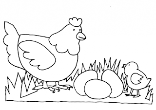 Adorable Family Chicken On Farm Coloring Pages
