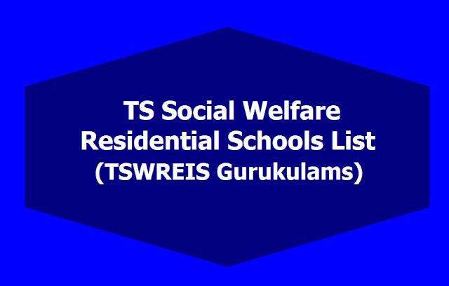 TS Social welfare Residential Schools list,TSWREIS gurukulams