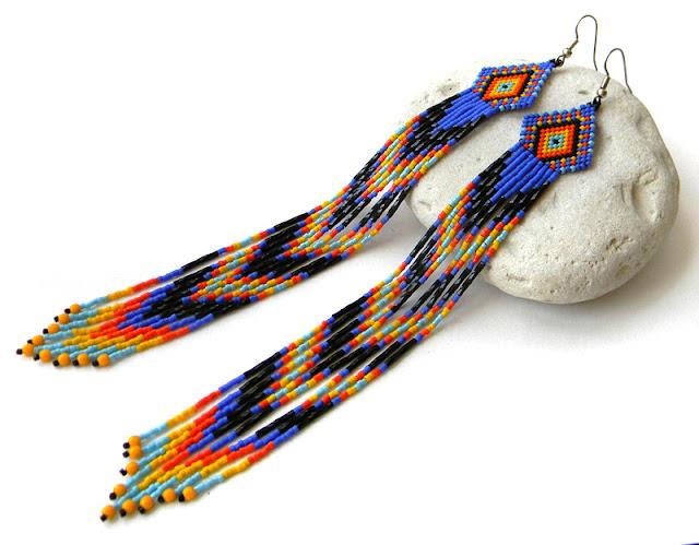 Очень длинные этно-серьги из бисера купить украшения