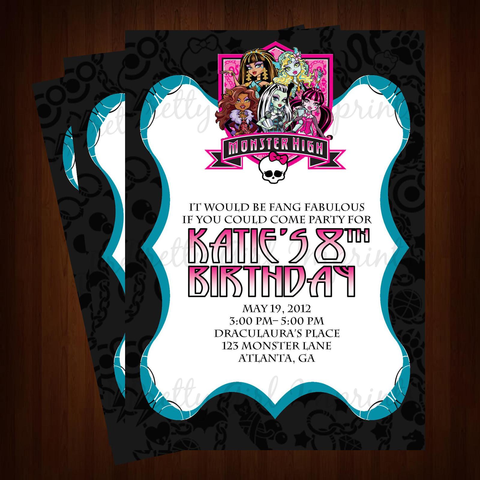 40th Birthday Ideas Invitation Templates Monster High