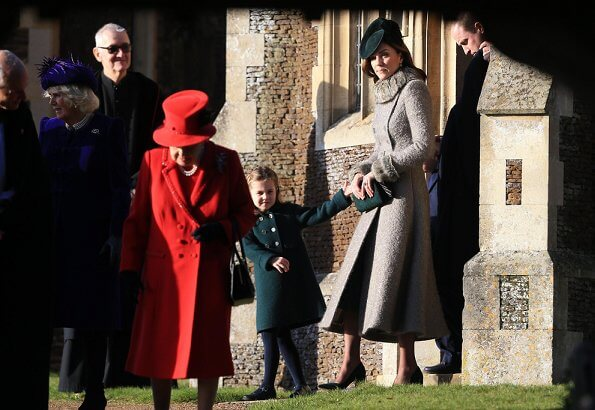Kate Middleton, Princess Charlotte, Prince George, Princess Beatrice, Princess Eugenie, Countess of Wessex at Christmas Day