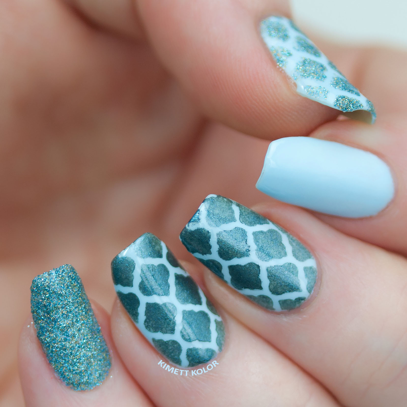 Kimett Kolor fresh blues in a moroccan inspired nail skittlette