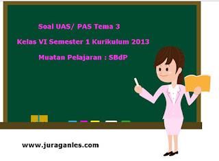 Contoh Soal UAS/ PAS K13 Kelas 6 Semester 1 Tema 3 SBdP