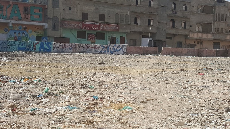 Mominabad Football Ground in Orangi Town, district West of Karachi turns into garbage dump
