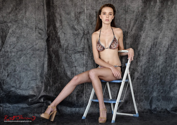 Missoni bikini, long legs, daylight studio. Modelling portfolio photoshoot by Kent Johnson Photography, Sydney, Australia.