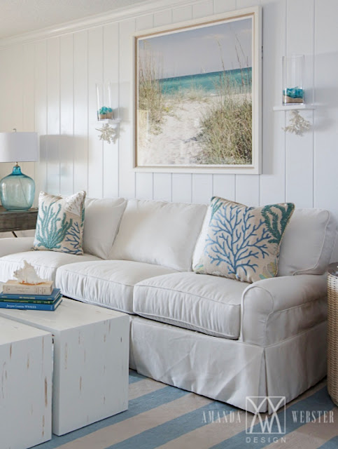 Wall Art Decorating Ideas with Scenic Beach Landscapes Living Room Above Sofa