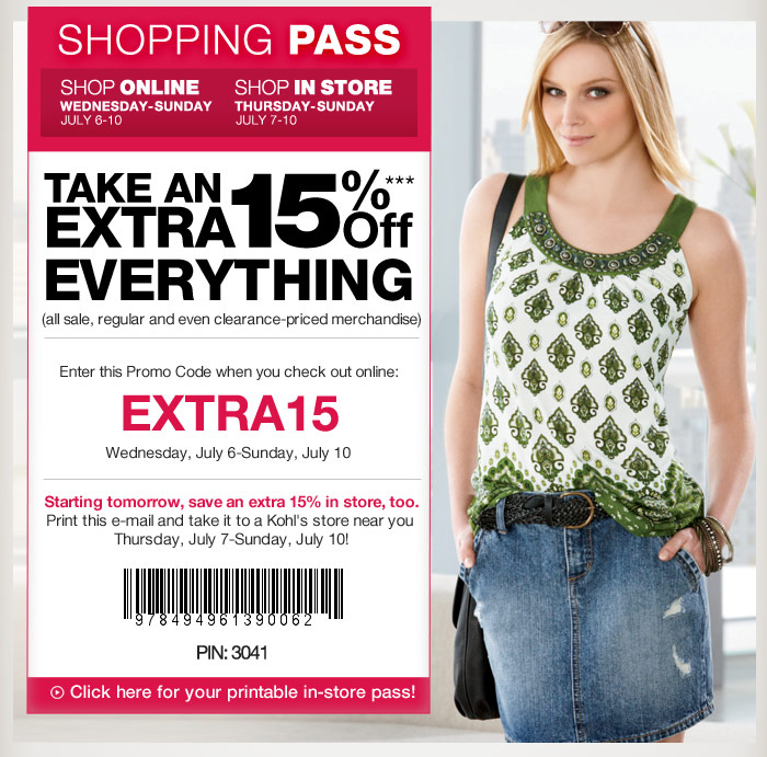 It is a photo of Critical Kohls Printable Coupon 15