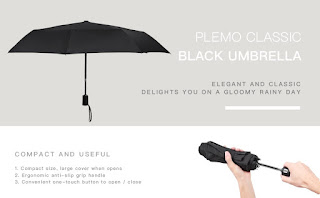 Travell umbrella, PLEMO Classic Black Automatic, Repels Raindrops, unisex £9.99