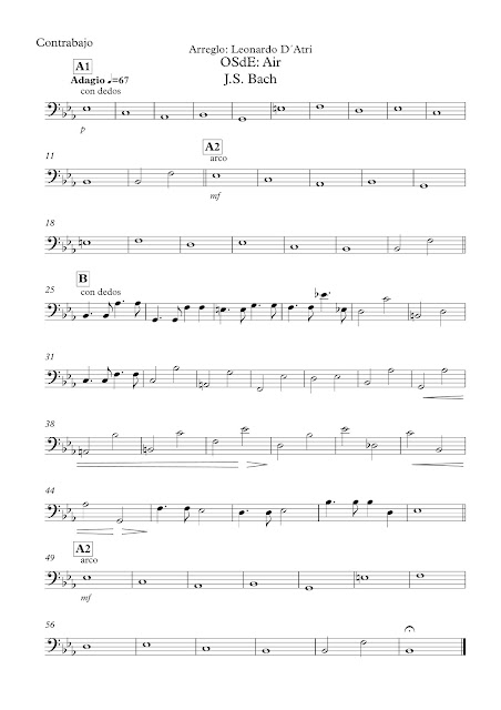 Aria Nº 3 de Bach (Suite) Partitura de Contrabajo en Clave de Fa Acompañamiento Sheet Music for Contrabass