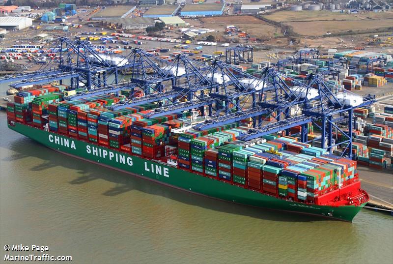 Felixstowe Dockers: CSCL Indian Ocean arriving Felixstowe, 3 tugs