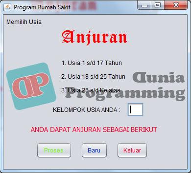 Program Anjuran degan Javanetbeans - Dunia Programming