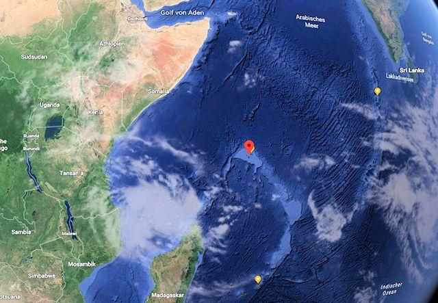 Geostrategische Lage der Seychellen (C) Google Maps