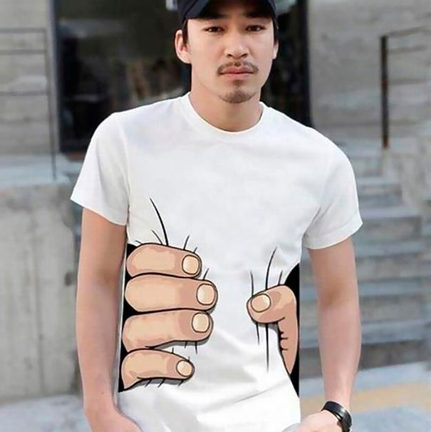 Creative T-shirts | Interesting T-shirts | Innovative T-shirts | Hand squeezing belly T-shirt | Funny T-shirts