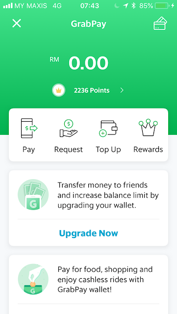 GrabPay home screen