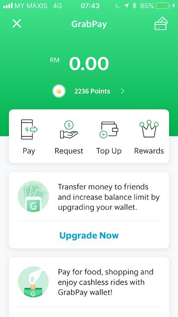 GrabPay home screen
