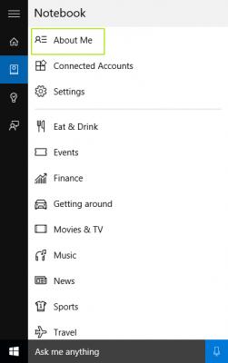 Pengaturan pada ada pada icon Notebook Windows 10