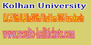 Kolhan University M.C.A VIth LL.B IInd/IVth / Final Sem 2016 Exam Results