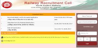 rrc gorakhpur admit card