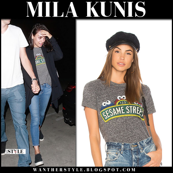 Mila Kunis in grey Sesame Street t-shirt and jeans hollywood street style august 1