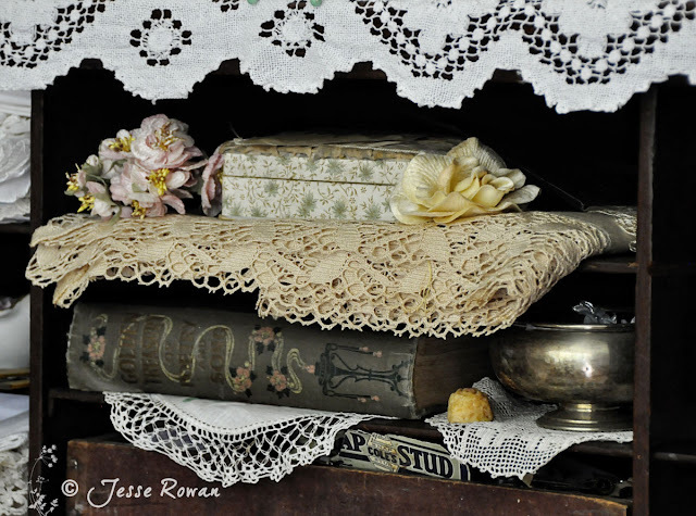 Lace and book by http://lace-age-girl.blogspot.com.au/2016/04/glimpses-of-my-craft-space.html