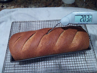 Dinner in the Life of a Dad—The BEST Low-Carb Bread Ever!!! the loaf is finished baking and a thermometer shows 203°F