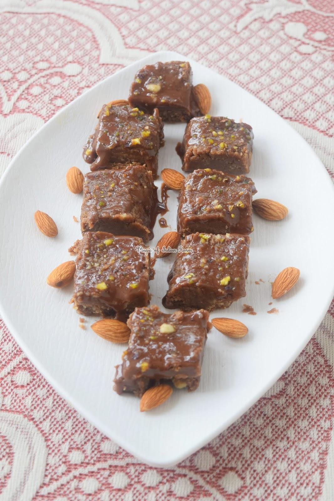 Biscuit Chocolate Fudge Recipe - चॉकलेट बिस्कुट बर्फी  रेसिपी - Priya R - Magic of Indian Rasoi