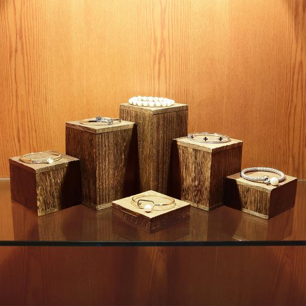 Display your spring jewelry using the Wooden 6 Pcs Square Risers Display | NileCorp.com