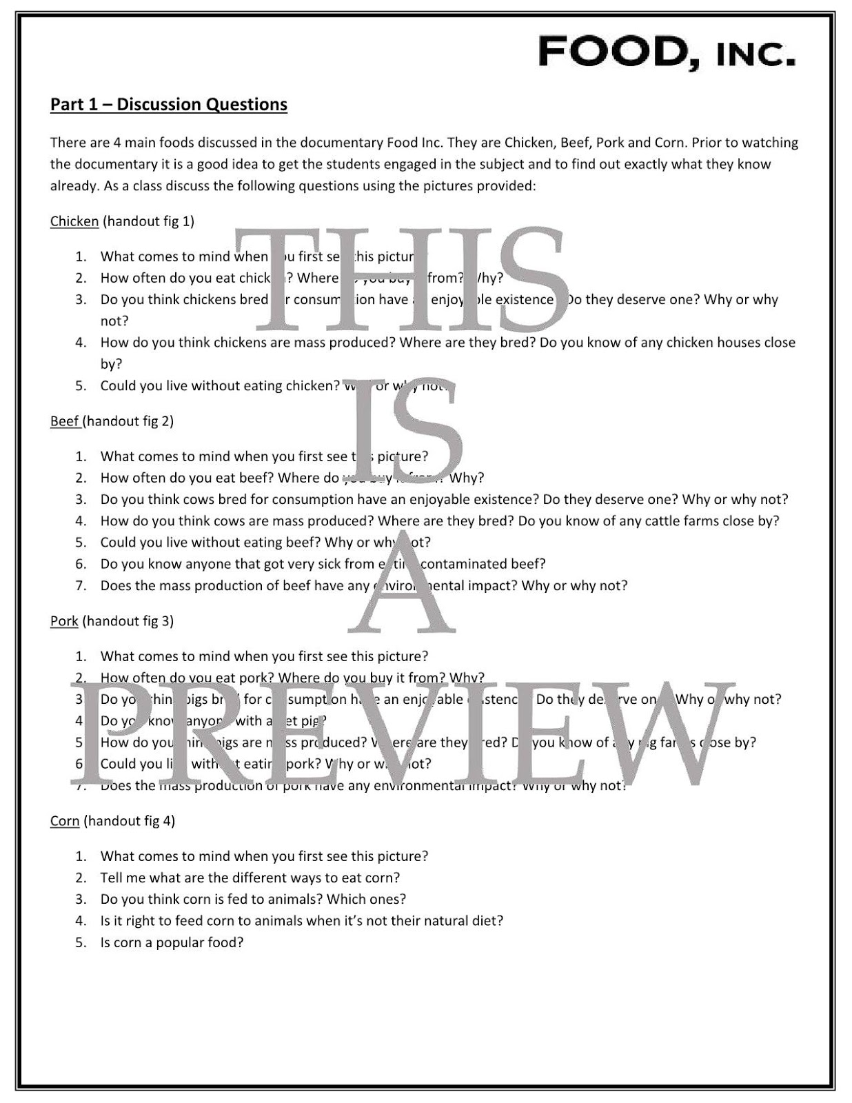 Movie Guides and Comprehension Questions: Food Inc Documentary Inside Food Inc Movie Worksheet Answers