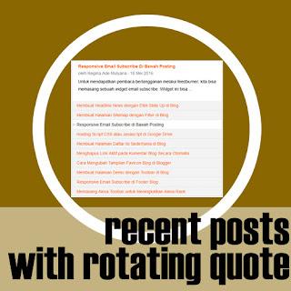 Widget Recent Posts dengan Kutipan Bergilir