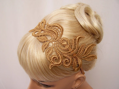 gold lace headband