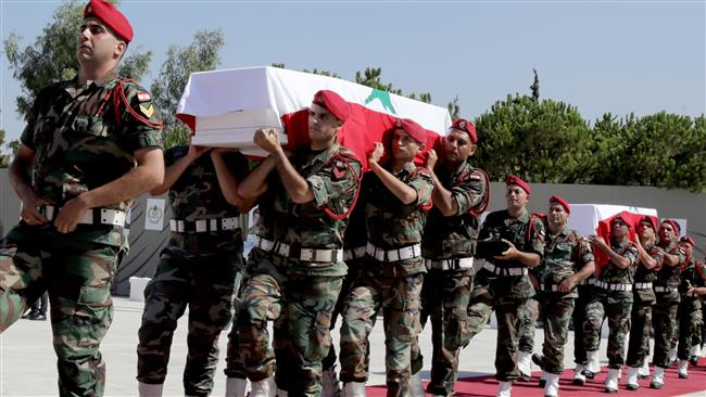 Lebanon holds state funeral for 10 soldiers killed by Daesh Takfiri terrorists
