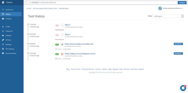 Página de Tenon con el listado de las evaluaciones realizadas. Se describe la página y sus elementos a continuación, en el artículo.