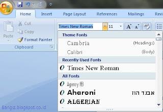 Jenis font pada Word