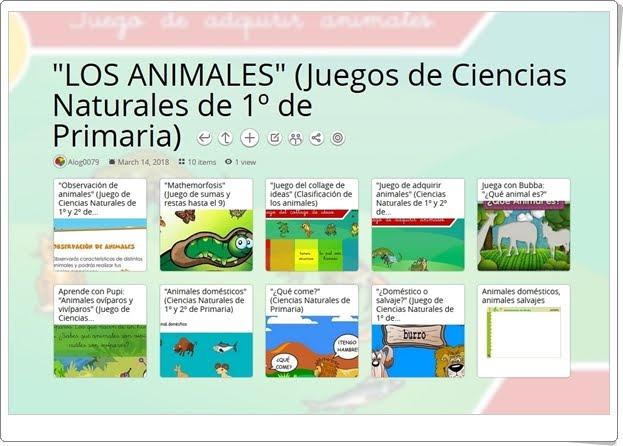 """""""10 Juegos para el estudio de LOS ANIMALES en 1º de Primaria"""""""