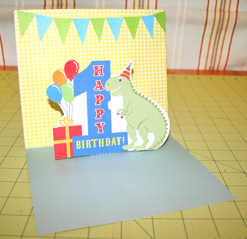 Moms eat cold food simple 1st birthday pop up card for Pop up birthday cards for mom