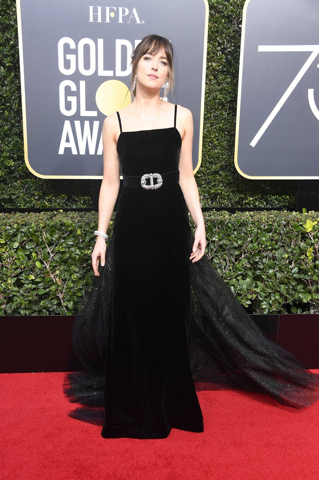 Dakota Johnson Posing at 75th Annual Golden Globe Awards